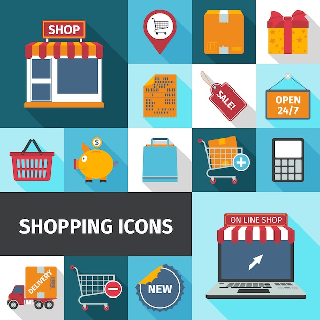 Shopping square icons set Free Vector