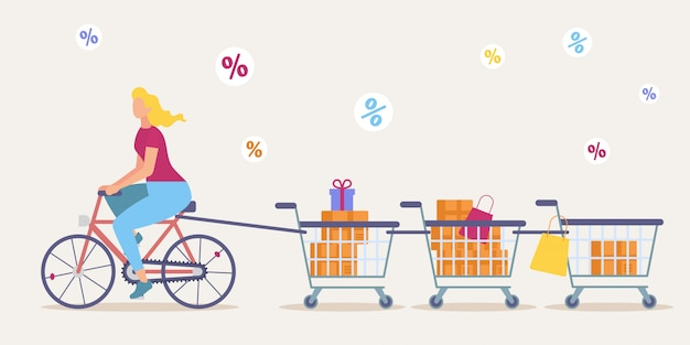 Shopping on store big sale flat vector concept Premium Vector