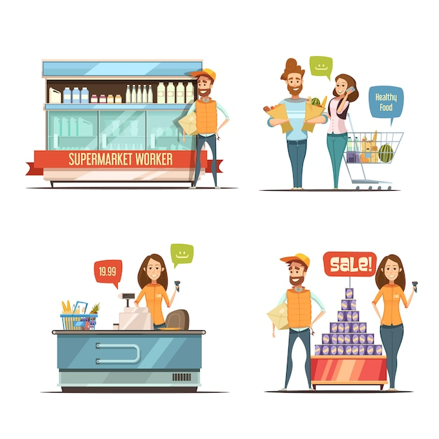 Shopping in supermarket retro cartoon icons collection with grocery cart dairy racks Free Vector