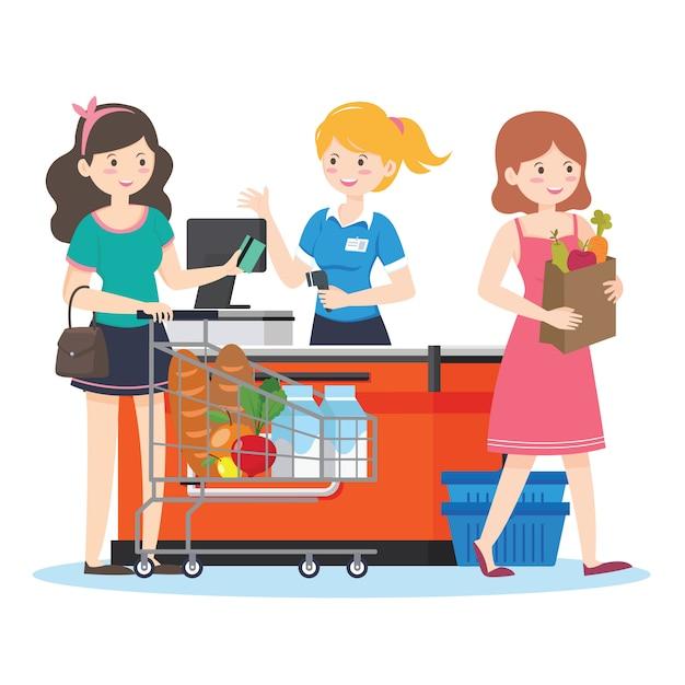 Shopping supermarket Premium Vector