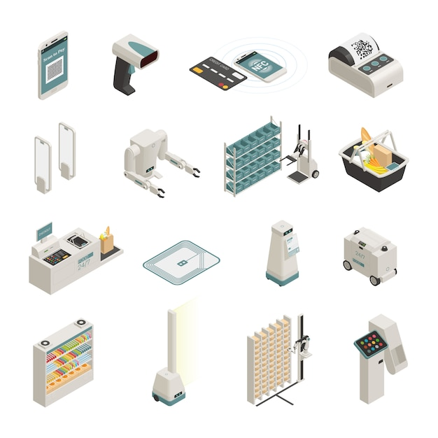 Shopping technologies isometric icons set Free Vector