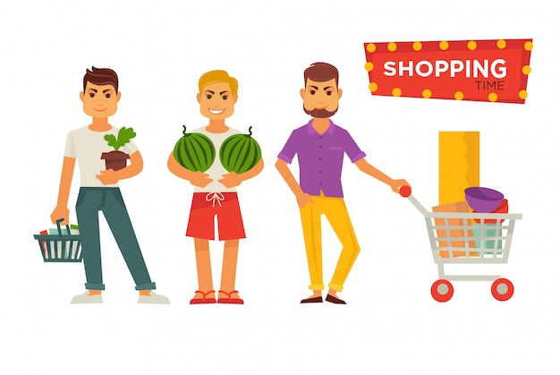Shopping time bright signboard and male cartoon characters Premium Vector