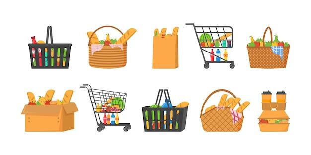 食べ物のイラストがいっぱいのショッピングカート Premiumベクター