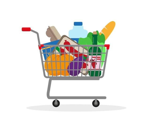 白い背景で隔離の食品でいっぱいのショッピングトロリー Premiumベクター