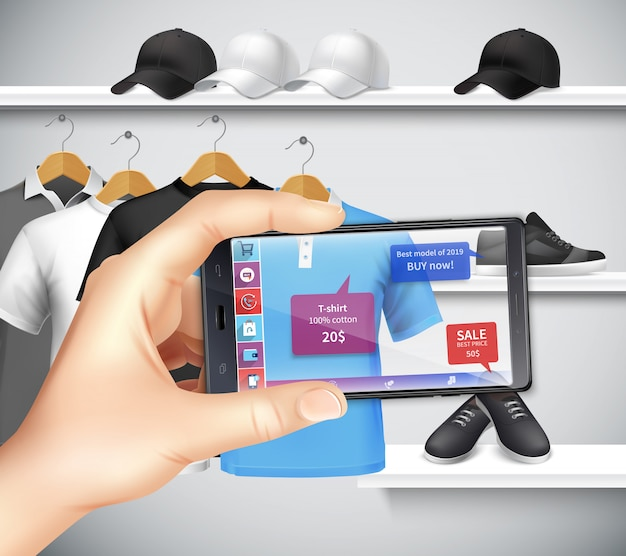 Shopping with virtual and augmented reality apps realistic composition with holding smartphone hand choosing sportswear Free Vector