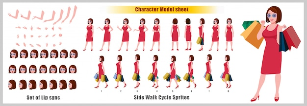 Shopping young girl character model sheet with walk cycle animations and lip syncing Premium Vector