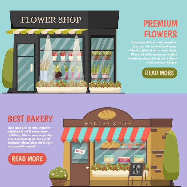 Shops banners set Free Vector
