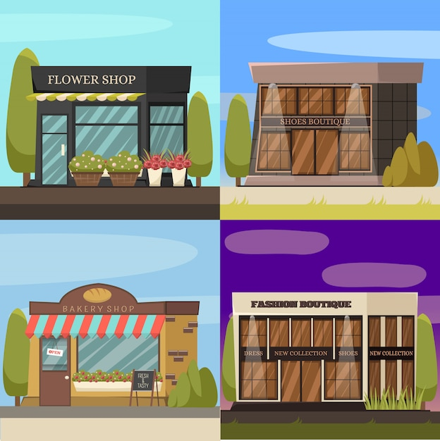 Shops concept icons set Free Vector