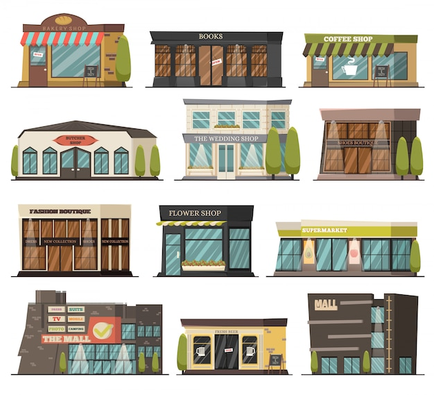 Shops orthogonal icons set Free Vector