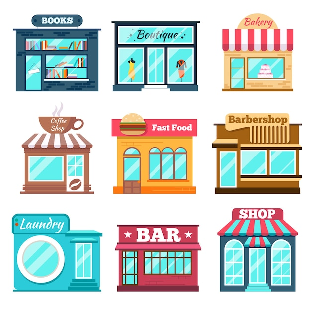 Shops and stores set in flat Free Vector