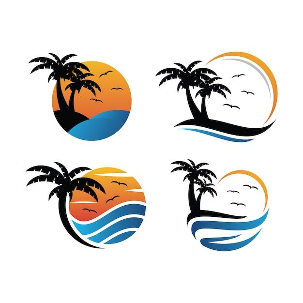 Берег океана закат логотип значок шаблон Premium векторы