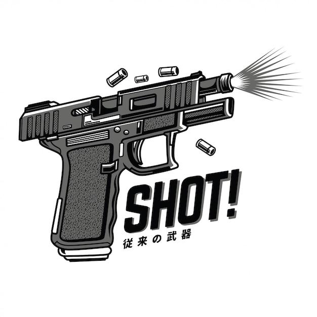 Shot black and white illustration Premium Vector