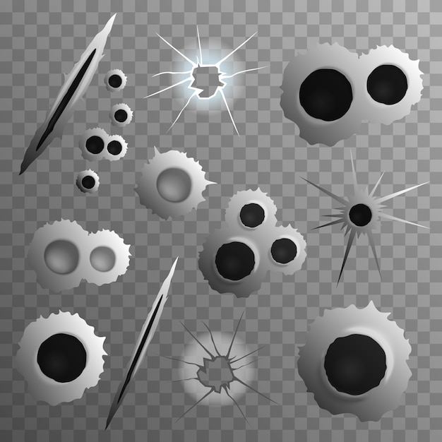 Shot holes transparent collection Free Vector
