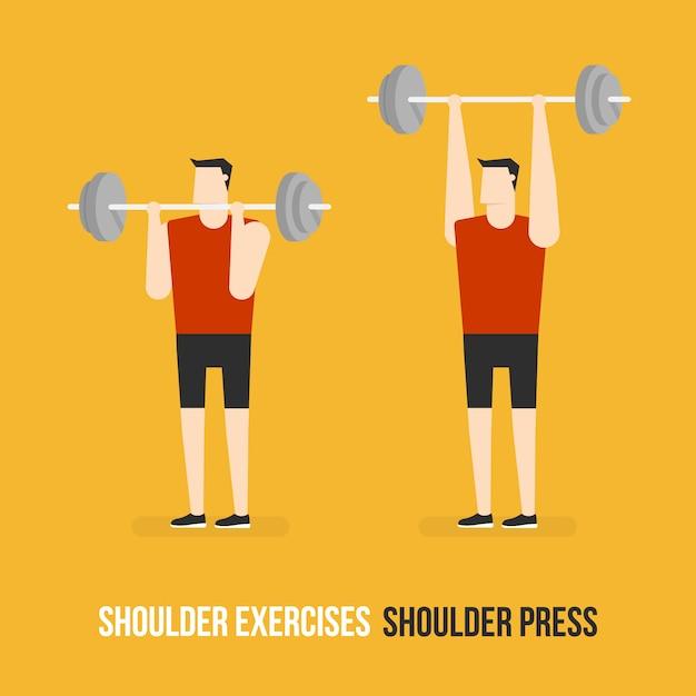 Shoulder press demostration Free Vector