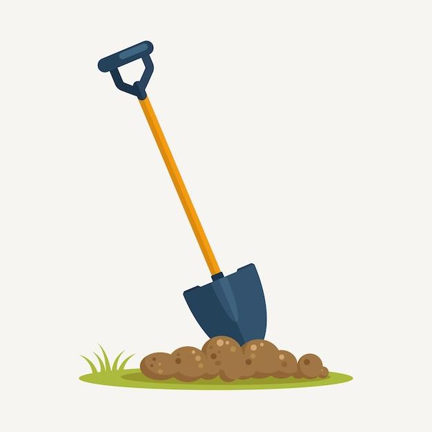 土でシャベル、背景に土壌の美化とスペード。園芸工具、掘削要素、農機具。春の仕事。 Premiumベクター