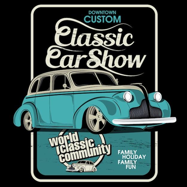 Show classic cars, vector car illustrations Premium Vector