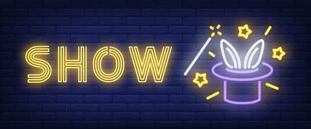 Show neon text with hat and rabbit ears Free Vector