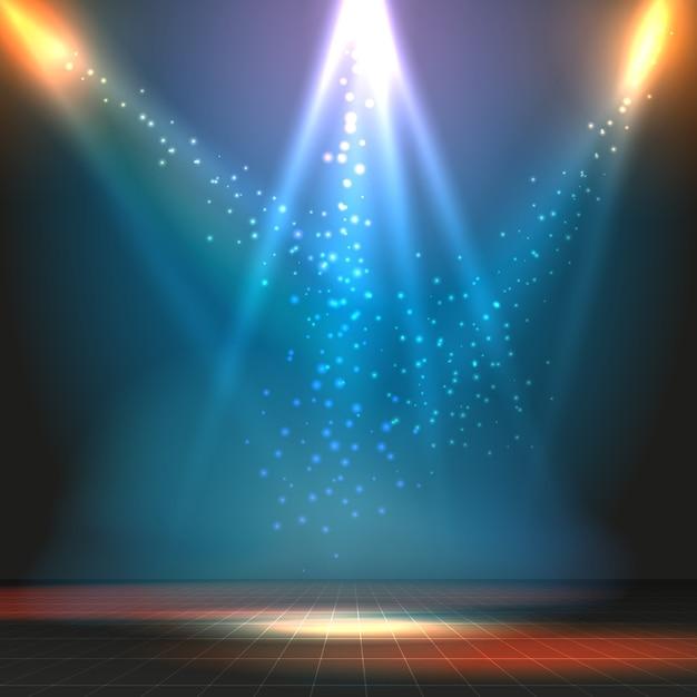 Шоу или танцпол векторный фон с точечными светильниками. вечеринка или концерт, сцена и напольная иллюстрация Бесплатные векторы