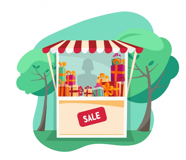 Showcase street festive tent with striped awning Premium Vector