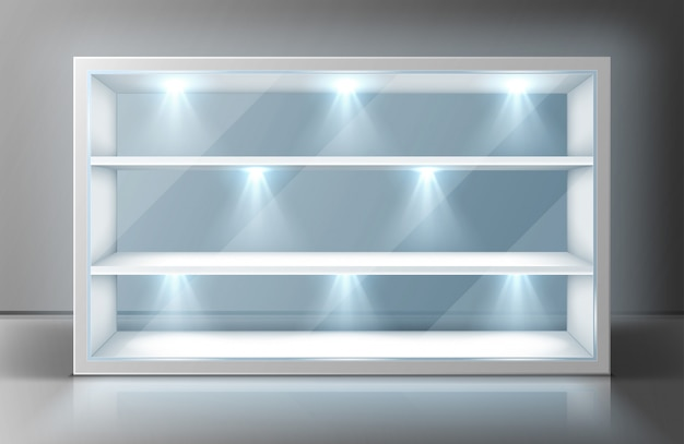 Showcase with glass wall, shelves and spotlights Free Vector