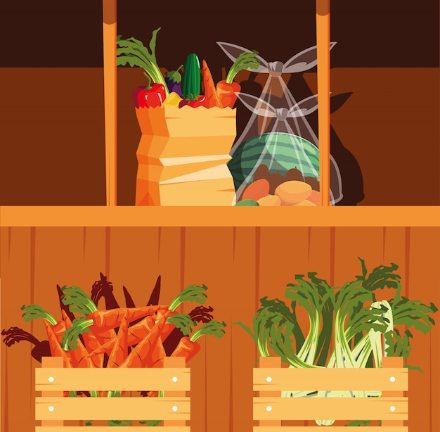 Showcase wooden store with vegetables and fruits Premium Vector