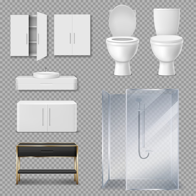 Shower cabin, toilet bowl and sink for bathroom Free Vector