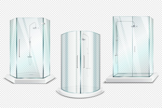 Shower cabin transparent realistic 3d collection of isolated shower stalls with glossy doors on transparent Free Vector
