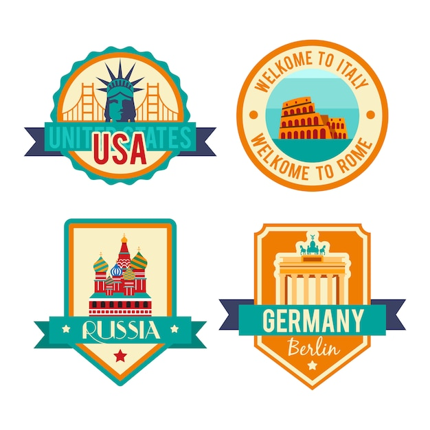Showplace illustration with all famous buildings. Free Vector