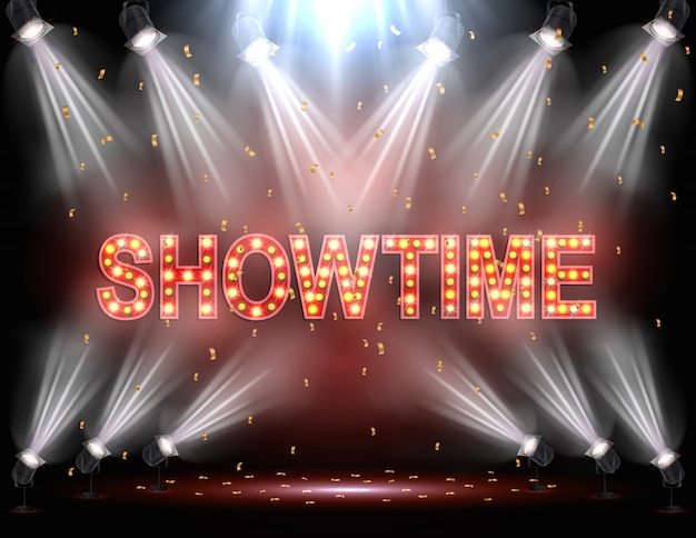 Showtime background illuminated by spotlights Vector   Premium Download