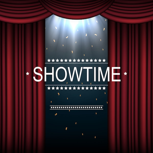 Showtime background with curtain illuminated by spotlights Premium Vector