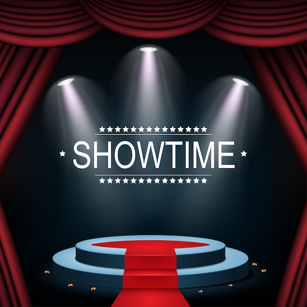 Showtime banner with podium and curtain illuminated by spotlights Premium Vector