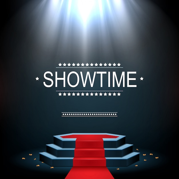 Showtime banner with podium and red carpet illuminated by spotlights Premium Vector