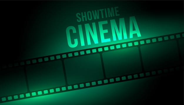 Showtime cinema background with film strip reel Free Vector