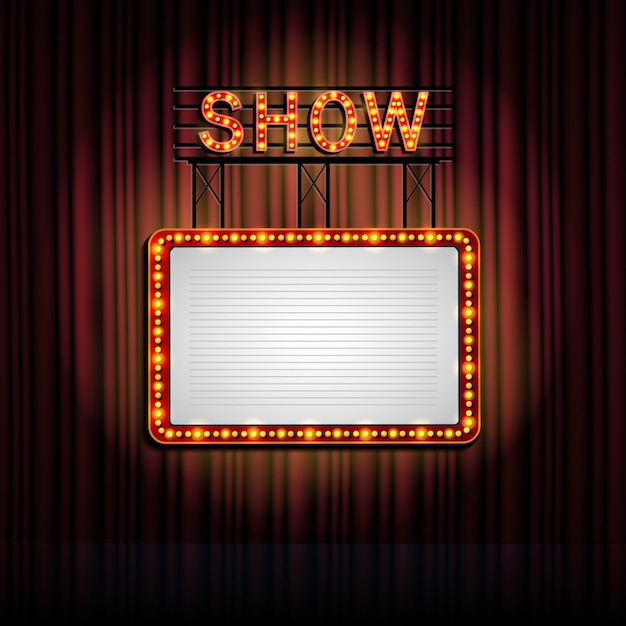 Showtime retro sign with curtain background Premium Vector