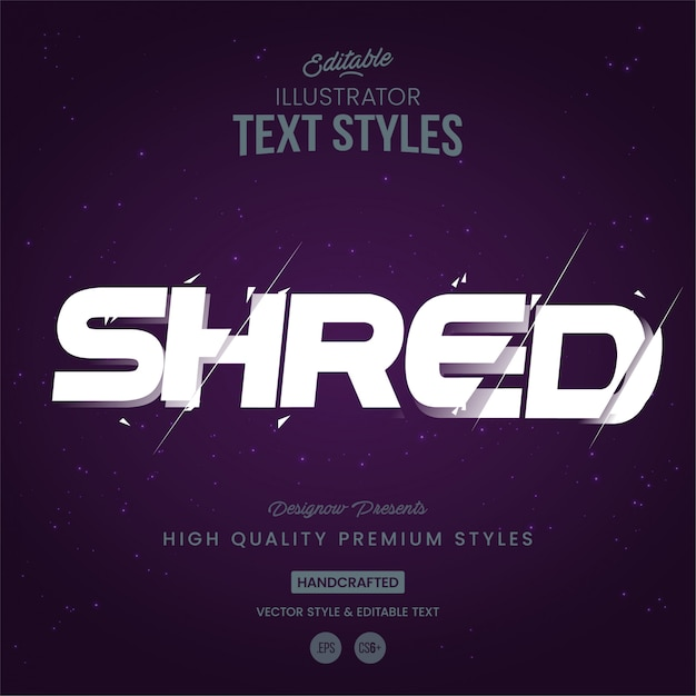 Shred text style Premium Vector