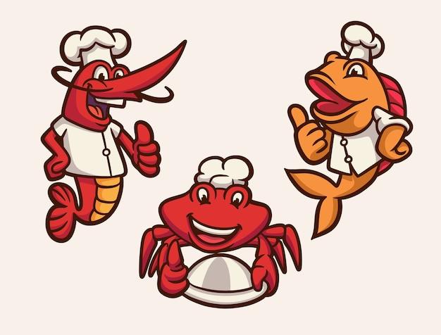 Креветки, рыба и крабы стали набором иллюстраций талисмана с логотипом шеф-повара Premium векторы