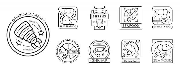 Shrimp icon set, outline style Premium Vector