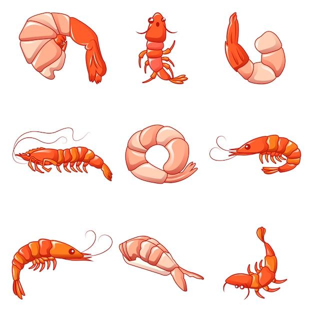 Shrimp prawn cooked icons set Premium Vector