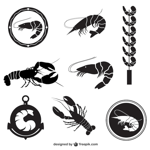Shrimp vector pack Vector Free Download