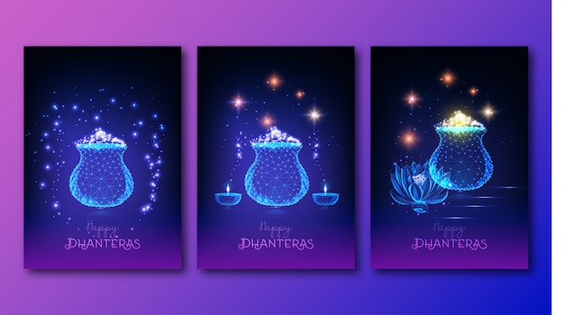 未来的なインドのshub dhanteras祭ポスターセット Premiumベクター
