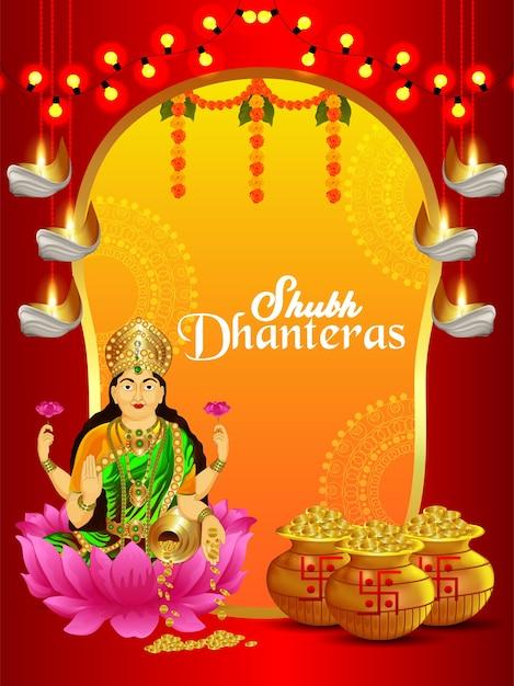 Фон празднования шуб дхантерас с горшком с золотыми монетами и богиней лаксами Premium векторы