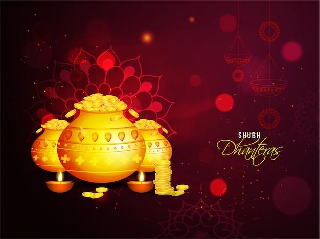Поздравительная открытка торжества shubh (счастливого) dhanteras с золотыми монетными горшками и освещенными масляными лампами (diya) на коричневой предпосылке светового эффекта мандалы. Premium векторы