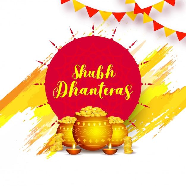Shubh (happy) dhanteras design illustration Premium Vector