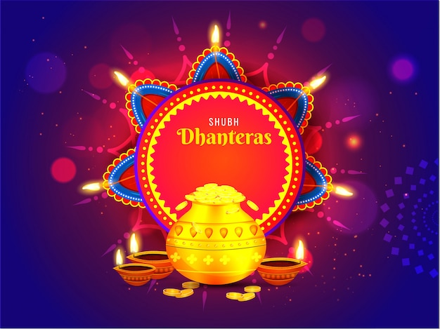 Shubh (happy) dhanteras greeting card decorated with illuminated oil lamps (diya) and golden coin pot on blue bokeh lighting effect background. Premium Vector