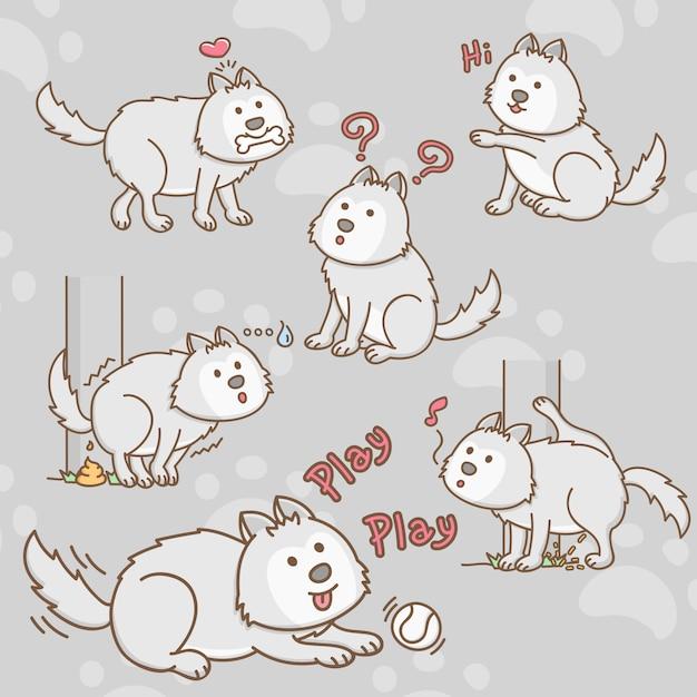 Siberian husky dog cartoon characters Premium Vector