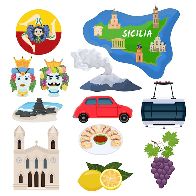 Sicily vector sicilian island map with cathedral architecture art culture and traditional italian food illustration tourism set Premium Vector