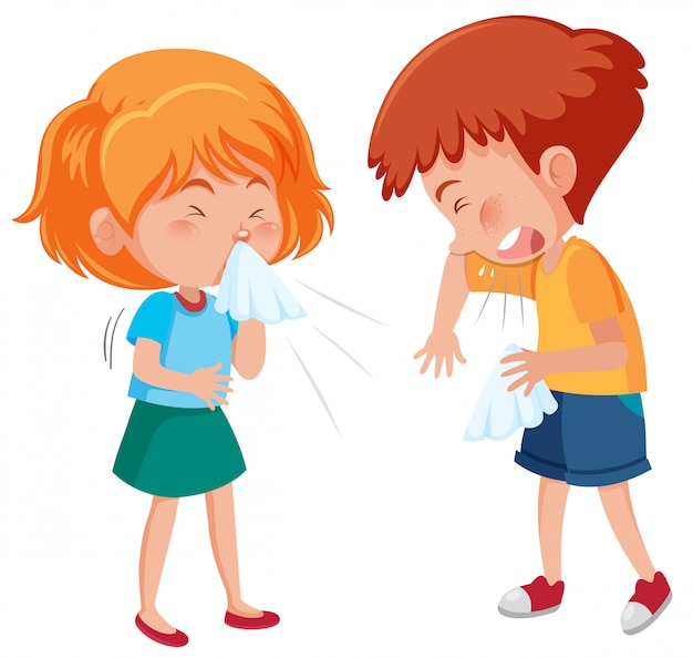 Sick boy and girl coughing on white background Premium Vector