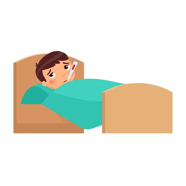 Ragazzo malato con termometro a letto. bambino con personaggio dei cartoni animati ad alta temperatura. febbre, sintomo influenzale. kid with cold. paziente che si rilassa sotto la coperta Vettore gratuito