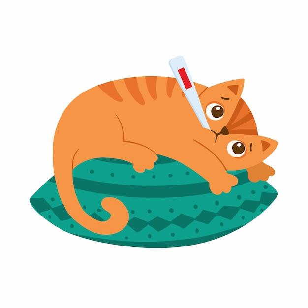 온도계가있는 아픈 고양이가 베개에 놓여 있습니다. 고온 만화 캐릭터와 새끼 고양이. 발열, 인플루엔자 증상. 감기에 걸린 애완 동물 무료 벡터