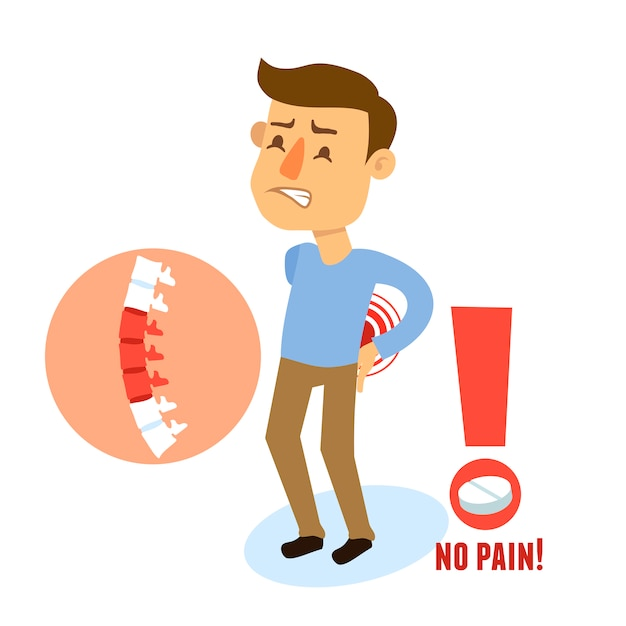 Sick character back pain Free Vector